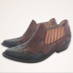 Lucky Brand Blue/Red/Brown Western Booties
